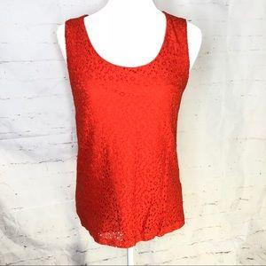 Banana Republic Orange Crochet sleeveless Small
